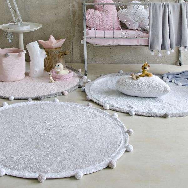 Machinewasbaar tapijt Ø 120cm Bubbly Light Grey